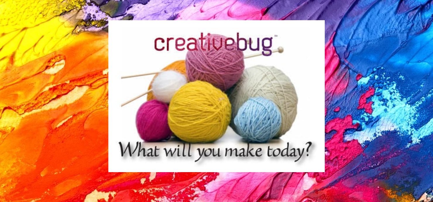 "Slide with photo of balls of yarn and reading ""Creative Bug; What will you make today?"""