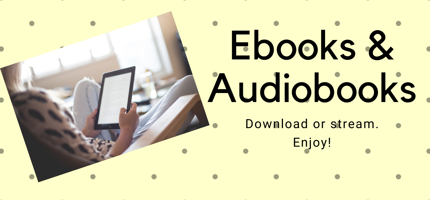 "Slide reading ""Ebooks & audiobooks: download or stream. Enjoy!"""