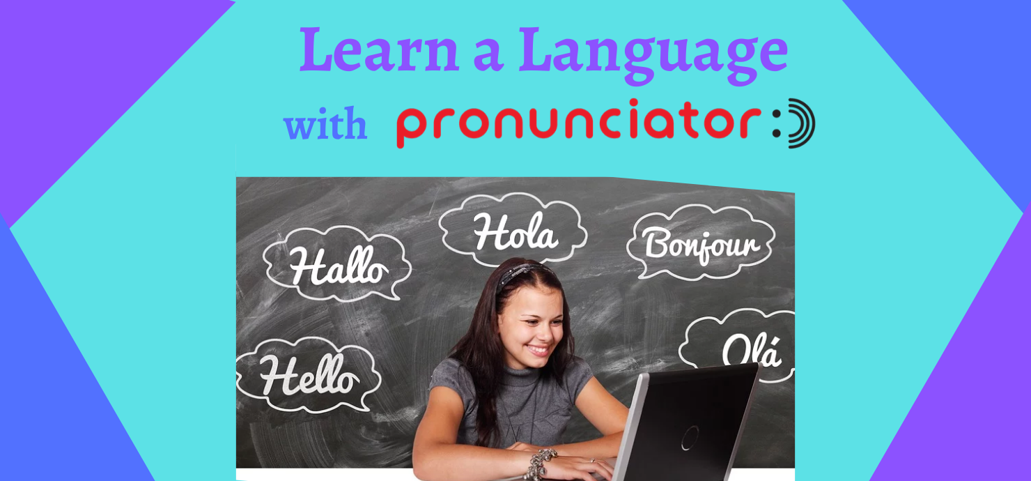"slide that reads ""Learn a language with Pronunciator"""