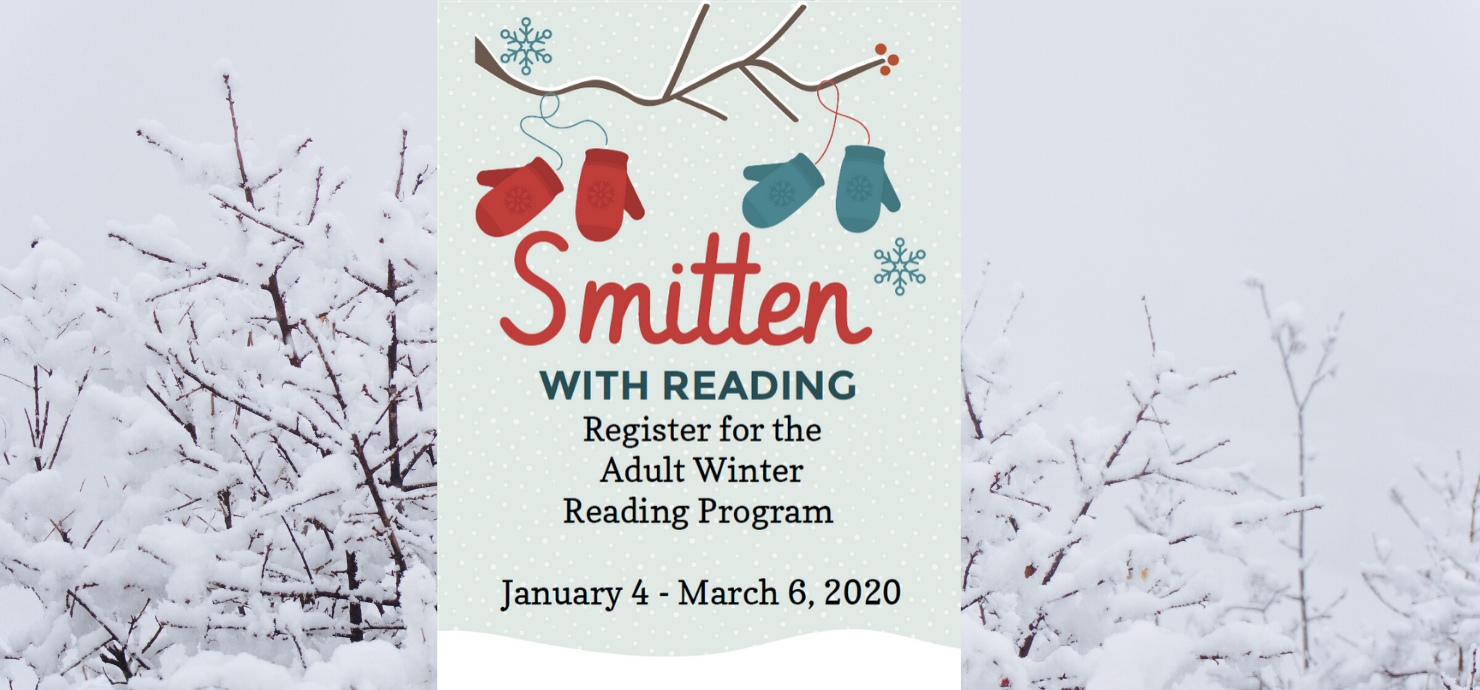"slide reading ""Smitten with Reading: Register for the Winter Reading Club Program"""
