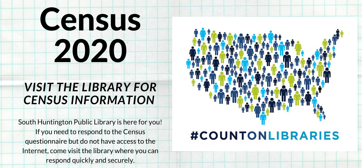 "Slide reading ""census 2020: visit the library for census information"""
