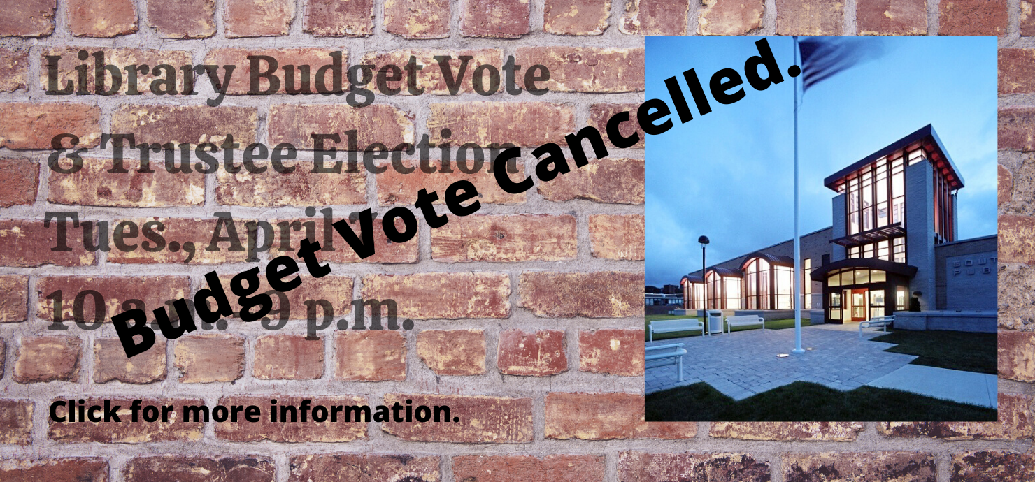 Budget Vote slide with cancelled banner