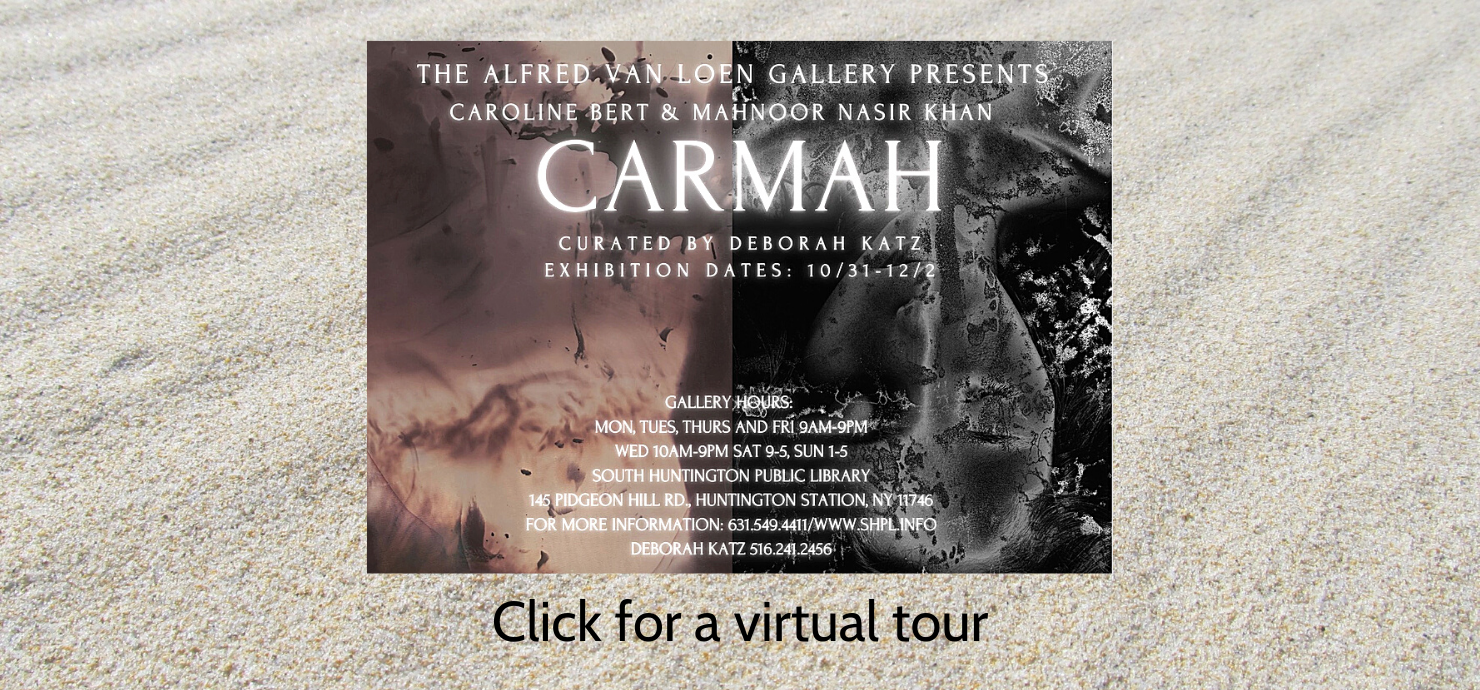A graphic with information about the Carmah exhibit during the month of November in the Alfred Van Loen Gallery.