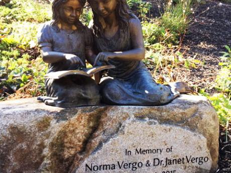 Statue of two girls perched on a rock and reading a book.