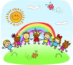 Toddlers in front of a rainbow