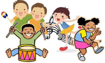 Children dancing and playing instruments