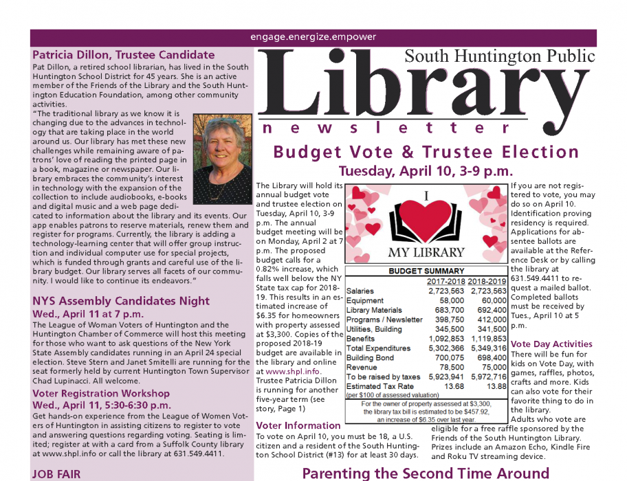April 2018 newsletter front page thumbnail