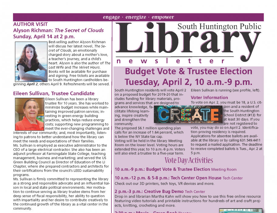 April 2019 newsletter front page thumbnail