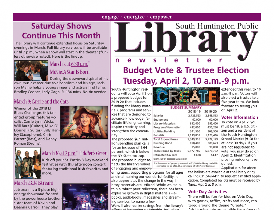 March 2019 newsletter front page thumbnail