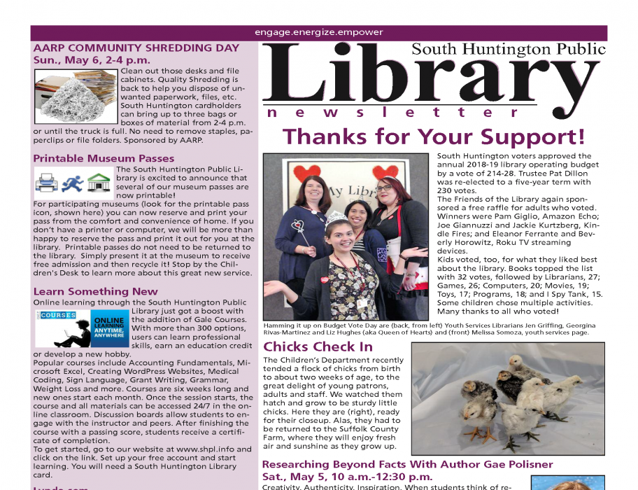 May 2018 newsletter front page thumbnail