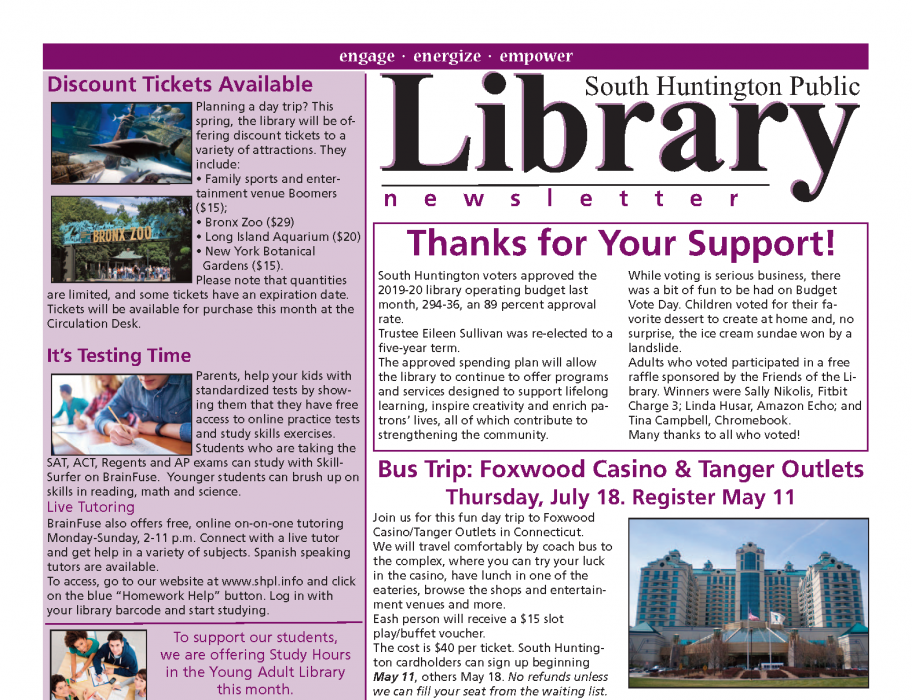 May 2019 newsletter front page thumbnail